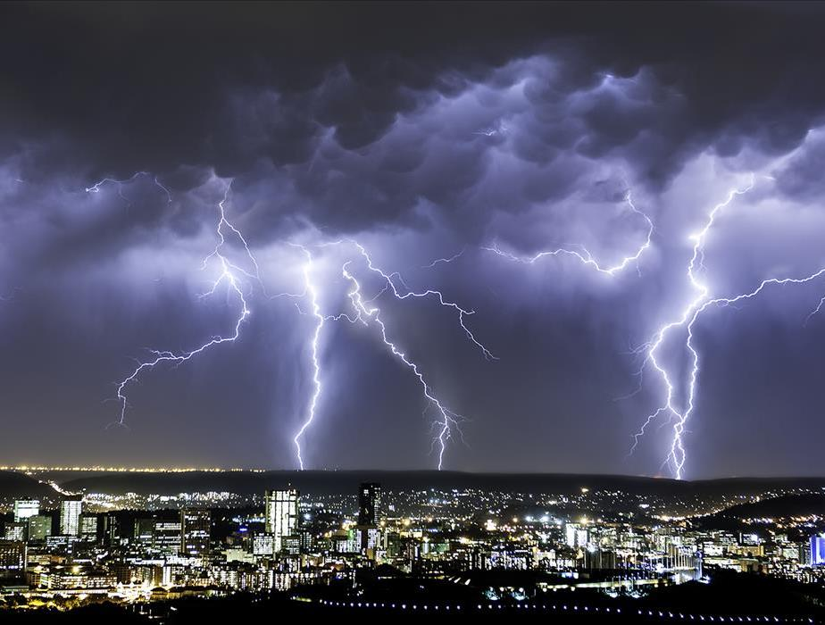 Lightning storm in a city